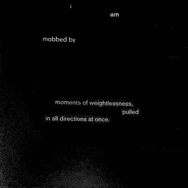 erasure poem: I am mobbed by/moments of weightlessness/ pulled in all directions at once