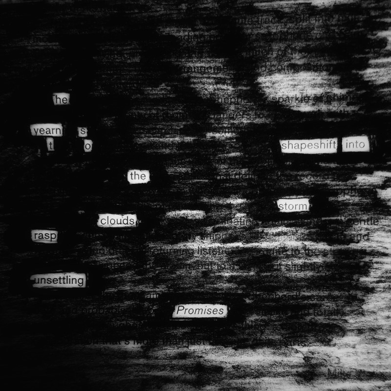 erasure poem: he yearns to shapeshift into the storm/ clouds rasp unsettling promises
