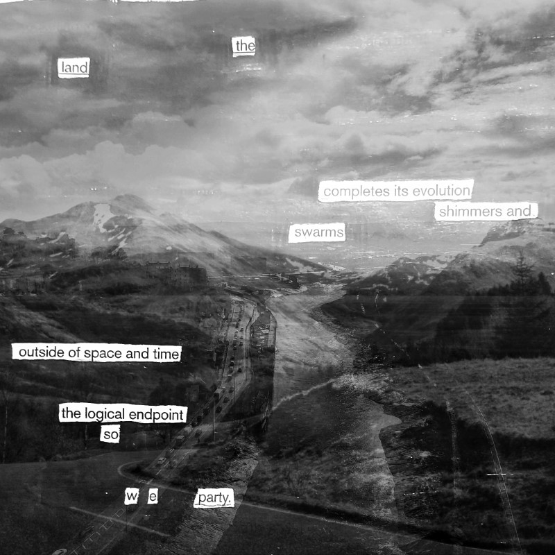 erasure poem: the land completes its evolution/shimmers and sways/outside of space and time/ the logical endpoint/so we party